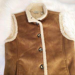 L.L. Bean | Faux Suede Vest Sherpa Wool Lining